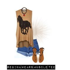 A fashion look from July 2013 featuring muscle t shirts, leather sandals and circle necklace. Browse and shop related looks. Muscle T Shirts, Leather Sandals, Fashion Looks, Ootd, Casual, Polyvore, How To Wear, Outfits, Shopping