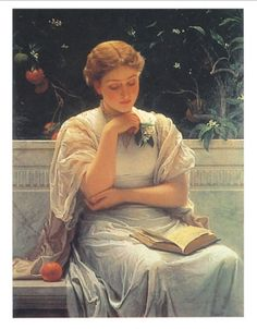 Dipinto di Frederick Carl Frieseke | Perugini, Charles E. - Ragazza che legge (1878)