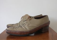 Vintage 1970s Mens Brown Leather Square Toe Shoes