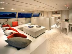 Red Dragon Yacht Interiors Living Area