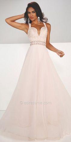Plunging Lace and Chiffon Prom Dress by Mon Cheri Paris #edressme