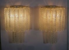 Pair of vintage murano six tier felci wall sconce opalino glasses