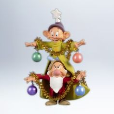 2012 Disney - A Very Merry Christmas Tree Hallmark Ornament. Two doors from Snow White and the seven Dwarfs are busy forming Christmas tree. Dopey is weari White Christmas Tree Decorations, Hallmark Christmas Ornaments, Hallmark Keepsake Ornaments, Very Merry Christmas, Christmas Love, Christmas Figurines, White Christmas Snow, Christmas Ideas, Outdoor Christmas