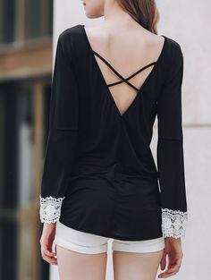 Round Neck Long Sleeve Low Back Irregular Hem T Shirt #womensfashion #pinterestfashion #buy #fun#fashion