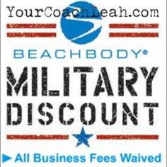 Coach for free and get 3 free gifts! Did you know if you are currently serving, a veteran or married to one you can get all your business fees waived and coach completely for free? What a great way to earn extra cash while working from home in whatever time you have available. Plus, I'll train you, build you a website and give you a free program (like 21 day fix, 22 minute hard corps, PiYO or Body Beast) so you can be a product of the product, which is a key to success! Plus you'll get 25%…
