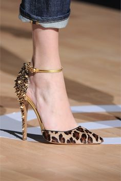 Leopard print ponyhair and metallic gold studded pointed-toe d'orsay