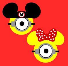 Minion, Disney, One Eye, Stuart, Phil, Kevin, Bob, Mickey, Minnie, Mouse, SVG, PNG, FCM, Stencil, Decal
