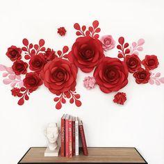 Conjunto de flores de papel para la pared Decor  Decoración