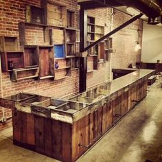 Image result for antique store display with brick wall