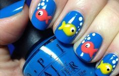 cute fish nails - OPI's Ogre The Top Blue with Fish Nail Art Fish Nail Art, Fish Nails, Beach Nail Art, Beach Nail Designs, Beach Nails, Simple Nail Designs, Nail Art Designs, Nails Design, Animal Nail Designs