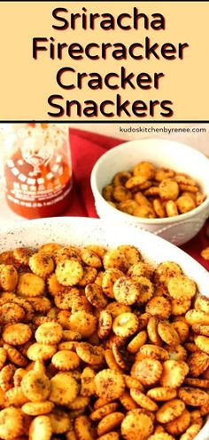 Hot and Sweet Sriracha Fire Cracker Cracker Snackers - Sriracha Firecracker Cracker Snackers pack a whole lot of punch into an itty-bitty cracker. Spicy Crackers, Oyster Crackers, Firecracker Crackers, Appetizer Recipes, Snack Recipes, Yummy Appetizers, Dinner Recipes, Game Day Food, Fun Food