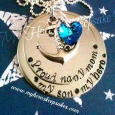 I want this!!   Navy Mom - Proud Navy Mom Hand Stamped 2 disc Stainless Steel Necklace with Love Anchor & Sea Blue Swarovski Heart ..Item is hand made by me & can have any saying stamped on it ... Retail $16.00 plus shipping...  Follow us on Facebook: www.facebook.com/myheroskeepsakes Or visit our website: www.myheroskeepsakes.com