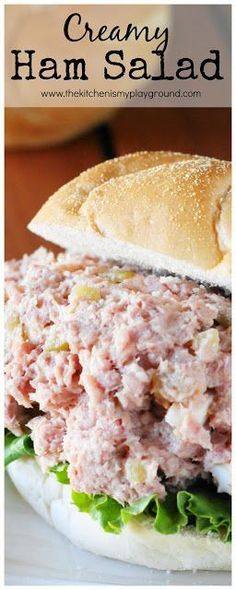 Creamy Ham Salad ~ perfect comfort food recipe for enjoying those ham leftovers.  www.thekitchenismyplayground.com Soup And Sandwich, Ham Salad Sandwiches, Ham Sandwich Recipes, Sandwich Spread, Wrap Sandwiches, Cuban Sandwich, Sandwich Fillings, Recipes For Leftover Ham, Ham Left Over Recipes