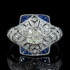 Art Deco Diamond Rings, Diamond Cluster Ring, Sapphire Diamond, Asher Cut Diamond, Diamond Cuts, Twist Ring, Gold Platinum, Gemstone Colors, Art Deco Fashion