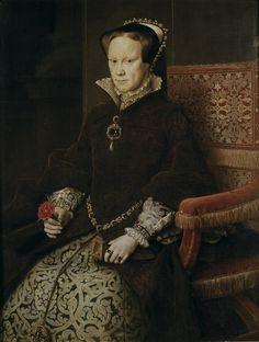 Segunda esposa de Felipe II. Hija de Enrique VIII y Catalina de Aragón.  La reina María Tudor, por Antonio Moro. 1554. (Museo del Prado, Madrid).