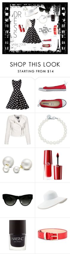 """Dress under 100$"" by buocz ❤ liked on Polyvore featuring Converse, Barbour International, Tiffany & Co., Allurez, Giorgio Armani, Prada, Eric Javits, Nails Inc., Paul Smith and under100"