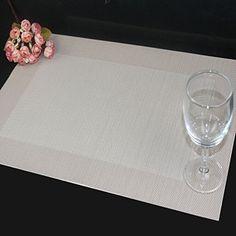 Tischsets (6er Set) - Soriace� Sets Tabellenplatzmatten Abendessen waschbare Kunststoff Vinyl platzsets / tischl�ufer, 45 * 30cm, Beige