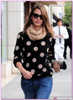 JESSICA ALBA wearing the Natalia Basic Infinity Scarf in Camel