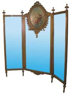 carved gilt wood 3 part dressing screen mirror