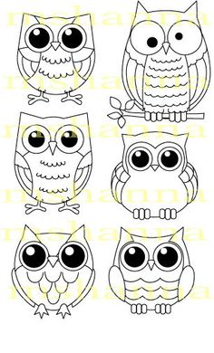 digital stamps owls; embroidery
