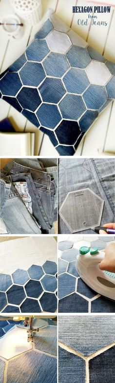 Check out how to make a DIY decorative hexagon pillow form old jeans DIY Home De. : Check out how to make a DIY decorative hexagon pillow form old jeans DIY Home Decor Ideas @ ISD Old Clothes, Clothes Crafts, Sewing Clothes, Sewing Crafts, Sewing Projects, Diy Projects, Sewing Diy, Sewing Jeans, Project Ideas