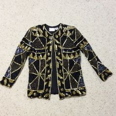 WEEKEND SALE  After 5 jacket % silk NWOT Pinky Creations After 5 sequined jacket % silk NWOT!!! Black and gold size SMALL. Top of left shoulder the threading is slightly coming apart but can easily be fixed with a few stitches. Look at 3rd picture. Pinky Creations Jackets & Coats Blazers
