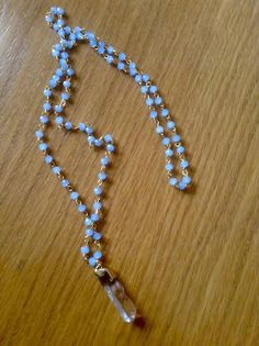 light blue rosary with semiprecious stone!!!!