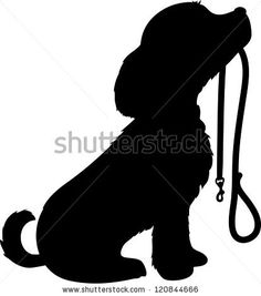 A black silhouette of a sitting dog holding it's leash in it's mouth, patiently…