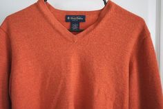 Brooks Brothers Rust Color Merino Wool V-Neck Sweater Womens Size Large #BrooksBrothers #VNeck