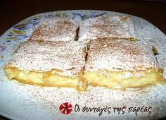 Great recipe for The most tasty bougatsa. A recipe for bougatsa (Greek breakfast pastry with either sweet or savoury filling) that is extremely easy to make and very tasty! Recipe by nutellitsa Turkish Recipes, Greek Recipes, Desert Recipes, Greek Pastries, Breakfast Pastries, Greek Sweets, Greek Desserts, Bougatsa Recipe, Sweets Recipes