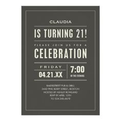 "21st Birthday Party Invitations 5"" X 7"" Invitation Card"