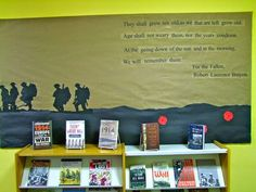 Centennial display Remembrance Day ideas- from… Class Displays, School Displays, Library Displays, Classroom Displays, Book Displays, World War 2 Display, Ww1 Display, Display Ideas, Library Bulletin Boards