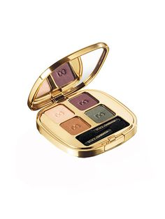 The best khaki-green eye shadows and liners:  Every shade in Dolce & Gabbana's The Eyeshadow Smooth Eye Color Quad in Mediterraneo is flattering