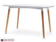 Prostokątny stół do kuchni o ponadczasowym wyglądzie. Piękny lśniący blat i naturalne bukowe nogi to jego cechy charakterystyczne.