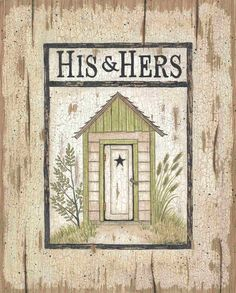 His and Hers Outhouse by Linda Spivey - Art Print Framed & Unframed at www.framedartbytilliams.com