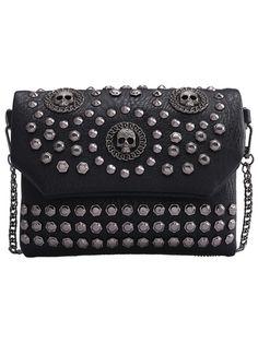 Black With Studded Skull Shoulder Bag