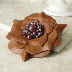 Ruffles Beaded Leather Flower Pin in Savannah ❤ by Viridian on Etsy