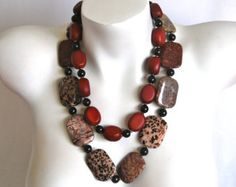 SALE 20% OFF coupon code FALL2014 - Multi Strand Beaded Necklace, Beaded Necklace, Handmade Jewelry, Crazy Horse Stone, Garnet, Hand Crafted