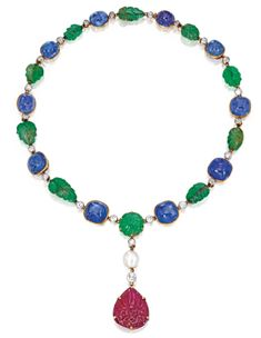 Gold, Platinum, Colored Stone, Natural Pearl and Diamond Necklace | Lot | Sotheby's