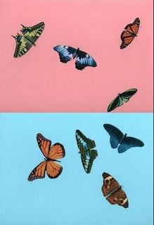Damien Hirst Butterfly Painting Pink and Light Blue