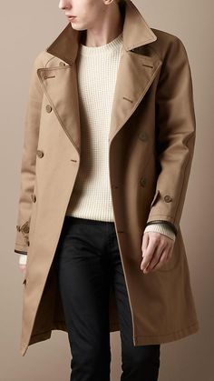 Leather detail trench coat from Burberry