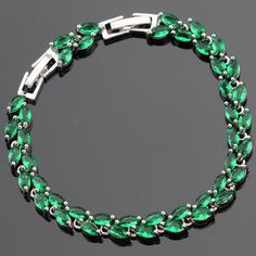 Green Created Emerald 18cm 20cm Women Silver Color Bracelets Casual Jewelry Free Gift Box