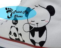 Panda converse, Hand geschilderd schoenen met aangepaste Art Panda schoenen, aangepaste Converse, verjaardagsgiften, gratis ons Shipping V2