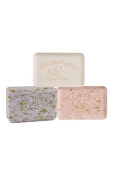 """Created from the finest of natural ingredients, Pré de Provence products are meticulously fashioned in Provence by French artisans following traditions established generations ago. Purchase one of our packages of three luscious scents for anyone on your list or for yourself! This set includes Coconut, Lavender, and Rose Petal.    Measures: 250 grams each; 2 3/4"""" x 4"""" x 1"""" each   Provence Soap Assortments by Djuna. Home & Gifts - Gifts - Scents & Bath Denver, Colorado"""
