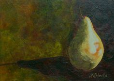 Pear Original Still Life Painting 5x7 Kitchen by annarobertsart