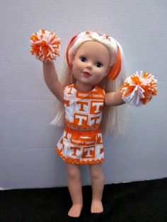 """American Girl Cheer Uniform, University of Tennessee, Vols, 18"""" Doll Clothes, Doll Clothes, Baby Doll Clothes,  By Sweetpeas Bows & More"""