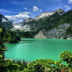 In the Alpine Lakes Wilderness lives Blanca Lake. Glacier runoff gives this lake it's beautiful color - it's a 3.5 mile hike up here,...