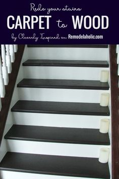 Update your stairs with this tutorial for removing carpet and finishing the wood beneath. Cleverly Inspired on Update your stairs with this tutorial for removing carpet and finishing the wood beneath. Cleverly Inspired on Refinish Stairs, Redo Stairs, Basement Stairs, Basement Carpet, Basement Ideas, Stair Redo, Basement Plans, Stairs Upgrade, Painted Wood Stairs