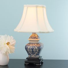 Blue and White Traditional Mini Table Lamp