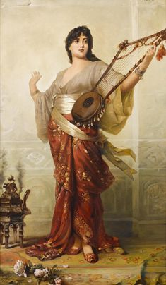 books0977:  The Lute Player.Nathaniel Sichel (German, 1843-1907). Oil on canvas. Sichel is often compared to Max Nonnenbruch, but in their circles of influence, exceeded him in fame and popularity. He was first known for his lithographic work, but eventually became a master of superbly drawn and painted portrait figures.